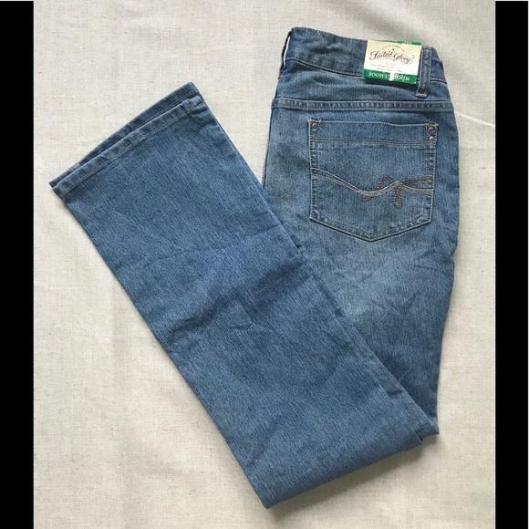 Faded Glory Dark//Light Wash women/'s Boot Cut jeans midrise tummy control stretch